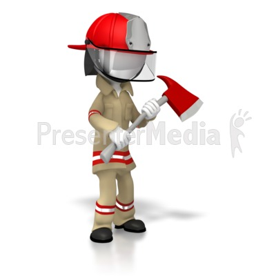 Suited Firefighter With Axe PowerPoint Clip Art