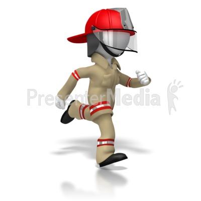 Firefighter Running PowerPoint Clip Art