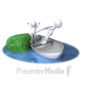 ID# 5913 - Stick Figures Pull In Net Full of Dollar - Presentation Clipart