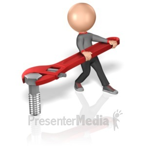 ID# 5936 - Stick Figure Turning Bolt - Presentation Clipart