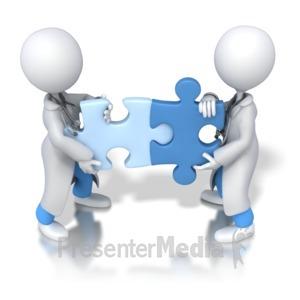 ID# 5947 - Doctors Solve Puzzle - Presentation Clipart