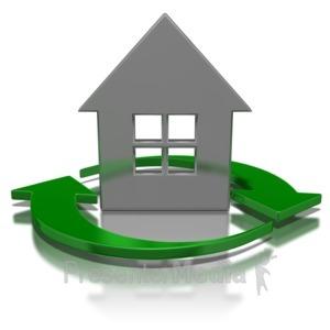 ID# 5949 - Arrows Circling House Symbol - Presentation Clipart