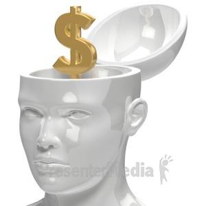 ID# 5952 - Dollar Inside Head - Presentation Clipart
