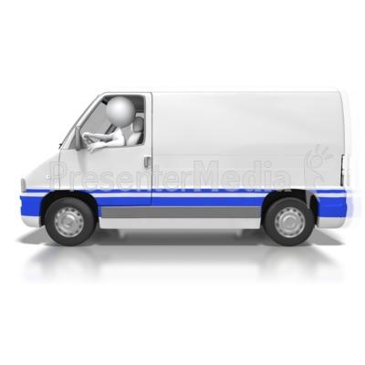 Stick Figure Drive Cargo Van PowerPoint Clip Art
