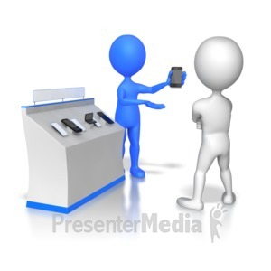 ID# 5980 - Stick Figure Selling Phones - Presentation Clipart