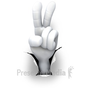 ID# 5987 - Hole Hand Number Two - Peace - Presentation Clipart