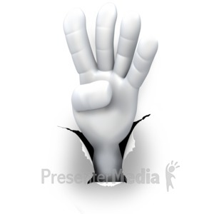 ID# 5991 - Hole Hand Number Four - Presentation Clipart