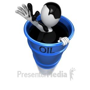 ID# 6052 - Stick Figure In Oil Barrel - Presentation Clipart