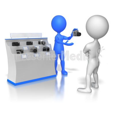 Stick Figure Selling Cameras PowerPoint Clip Art