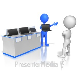 ID# 6066 - Slaes Stick Figure Selling Computers - Presentation Clipart