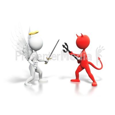 Good Vs Evil Fight PowerPoint Clip Art