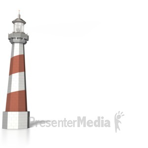 ID# 6246 - Lighthouse with light Signal beam - Presentation Clipart