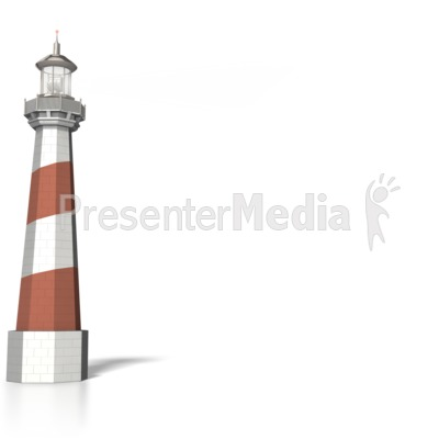 Lighthouse with light Signal beam PowerPoint Clip Art