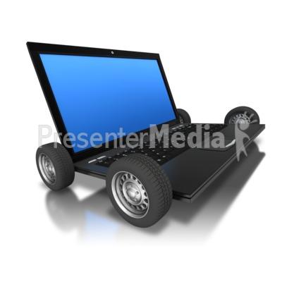 Computer Laptop Wheels PowerPoint Clip Art