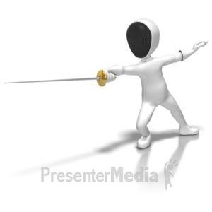 ID# 6251 - Stick Figure Fencing Thrust - Presentation Clipart