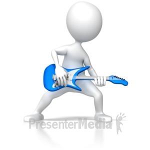 ID# 6255 - Stick Figure Rocking Guitar - Presentation Clipart