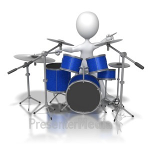 ID# 6257 - Stick Figure Jamming on Drums - Presentation Clipart