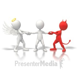 ID# 6266 - Angel Devil Tug War - Presentation Clipart
