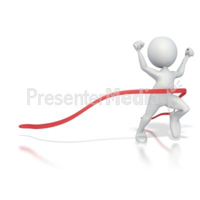 Stick Figure Race Finish PowerPoint Clip Art