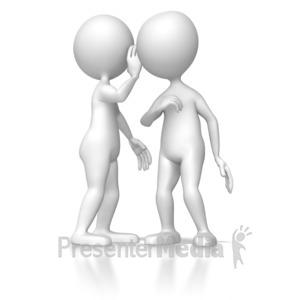 ID# 6287 - Stick Figure Telling A Secret - Presentation Clipart