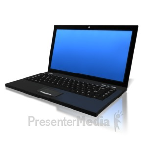 ID# 6289 - Blue Screen Laptop - Presentation Clipart