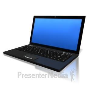ID# 6289 - Blue Screen Laptop - Presentation Clipart