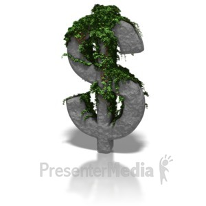 ID# 6290 - Ivy Covered Dollar Symbol - Presentation Clipart