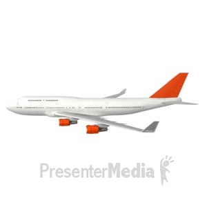 ID# 6309 - Commercial Airplane Profile - Presentation Clipart