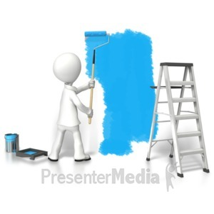 ID# 6321 - Stick Figure Painting Wall - Presentation Clipart