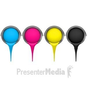 ID# 6332 - Cmyk Buckets Pouring Paint - Presentation Clipart
