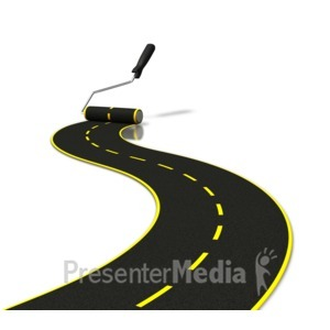 ID# 6337 - Painting Road With Roller - Presentation Clipart