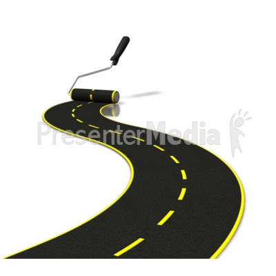 Painting Road With Roller PowerPoint Clip Art