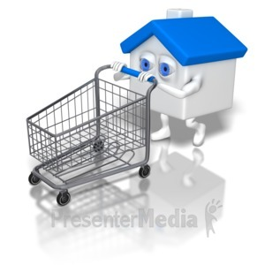 ID# 6342 - House Pushing Shopping Cart - Presentation Clipart