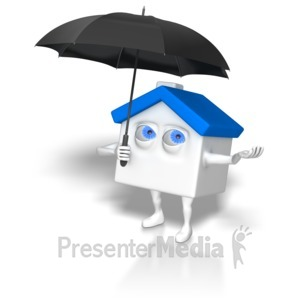 ID# 6349 - House Holding Umbrella - Presentation Clipart