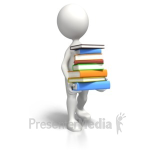 ID# 6351 - Stick Figure Carrying Book Load - Presentation Clipart