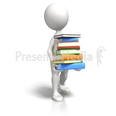Stick Figure Carrying Book Load PowerPoint Clip Art