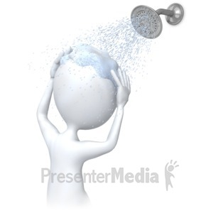 ID# 6369 - Stick Figure Washing Head In Shower - Presentation Clipart