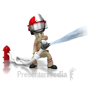 ID# 6380 - Firefighter Spraying Hose - Presentation Clipart