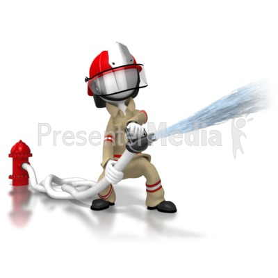 Firefighter Spraying Hose PowerPoint Clip Art