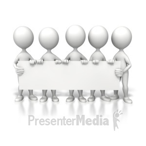 ID# 6394 - Group Holding Long Sign - Presentation Clipart