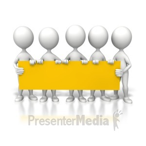 ID# 6397 - Group Holding Long Sign - Presentation Clipart