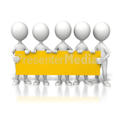 Group Holding Long Sign PowerPoint Clip Art