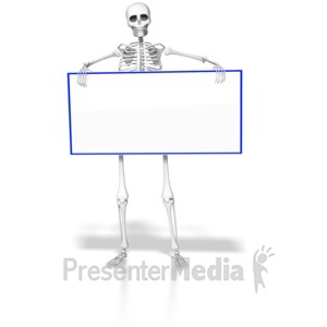 ID# 6411 - Skeleton Holding Blank Sign - Presentation Clipart