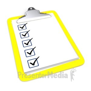 ID# 6420 - Clipboard With Five Checkmarks - Presentation Clipart
