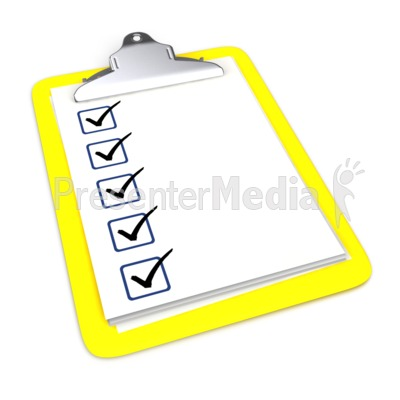 Clipboard With Five Checkmarks PowerPoint Clip Art