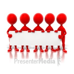 ID# 6429 - Colored Stick Figures Holding Sign - Presentation Clipart