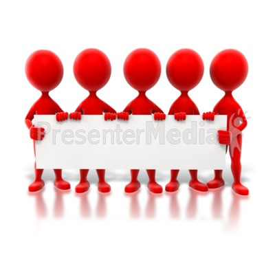 Colored Stick Figures Holding Sign PowerPoint Clip Art