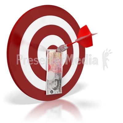 British Pound Bullseye Money PowerPoint Clip Art