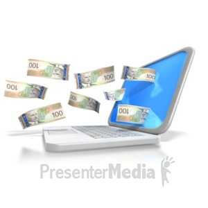 ID# 6434 - Canadian Money Through Laptop - Presentation Clipart