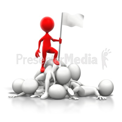 Stick Figure On Top of Pile PowerPoint Clip Art